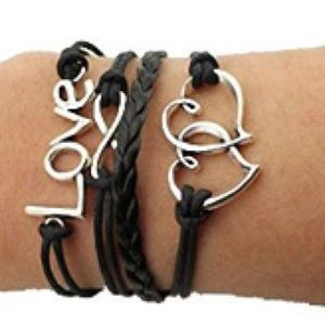 💓 Love 💓 Woven Leather Braided Infinity Bracelet